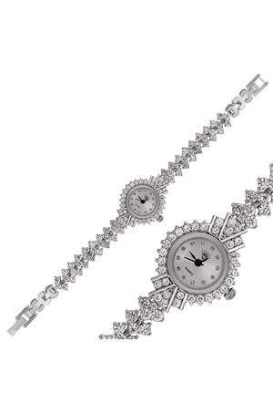 Gumush Gümüş Elmas Kadranlı Saat