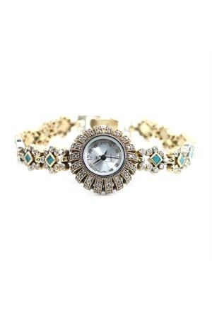 Dhamany Taşı Güneş Desenli Bayan Gümüş Saat