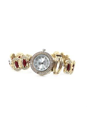Dhamany Kırmızı Taşlı Yuvarlak Bayan Gümüş Saat