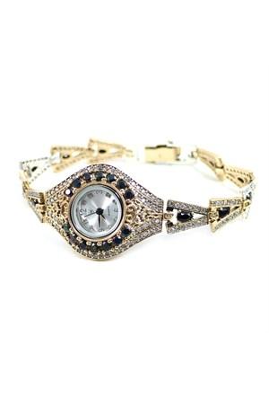 Dhamany Siyah Taşlı Oval Bayan Gümüş Saat