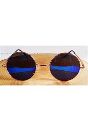 Köstebek Altın Sarı Çerçeveli Mavi Aynalı John Lennon Gözlük