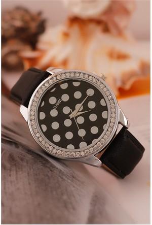 Morvizyon Clariss Marka Siyah Deri Kordon Tasarımlı İç Detayı Puantiyeli Bayan Saat Modeli