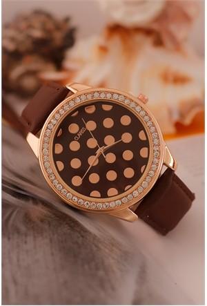 Morvizyon Clariss Marka Kahverengi Deri Kordon Tasarımlı İç Detayı Puantiyeli Bayan Saat