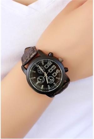 Morvizyon Clariss Marka Kahverengi Simli Çatlak Deri Tasarımlı Bayan Saat