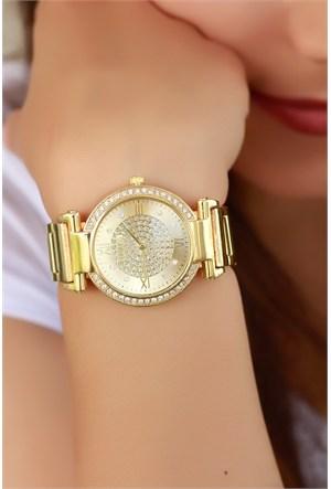 Morvizyon Clariss Marka Sarı Kaplama Tasarımlı Bayan Saat