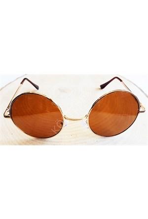 Köstebek Gold Çerçeveli Kahverengi John Lennon Güneş Gözlüğü Jlg022