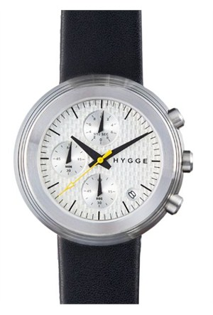 HYGGE 2312 Volcanical Chrono Leather Silver Unisex Kol Saati