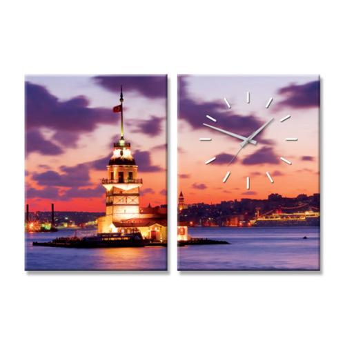 Artmodel Kız Kulesi 2 Parçalı Kanvas Tablo Saat