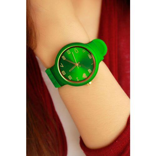Yeşil Silikon Kordonlu Bayan Saat