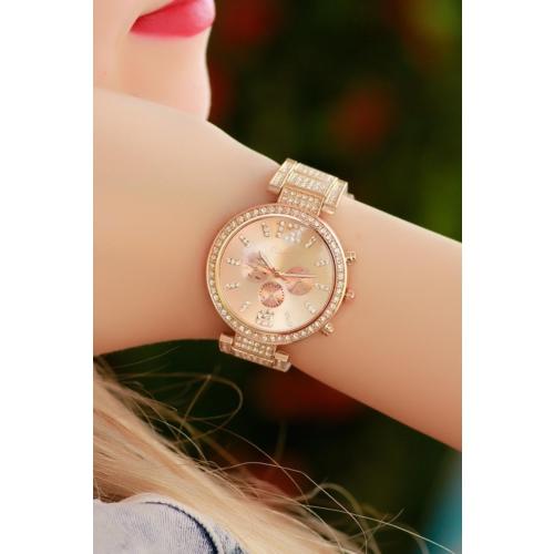 Clariss Bronz Renk Tasarımlı Zirkon Parlak Taşlı Bayan Saat
