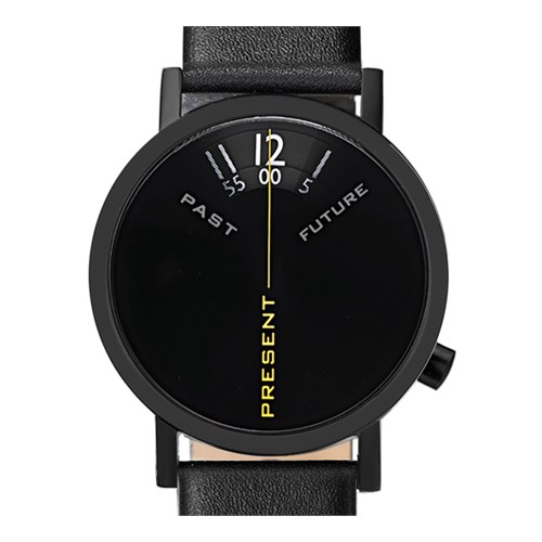 Projects Watches Past Present Future Black Leather Unisex Kol Saati