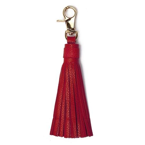 Leather&Paper Kırmızı Deri Püskül Anahtarlık