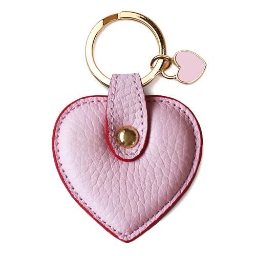 Leather&Paper Pembe Deri Kalp Anahtarlık