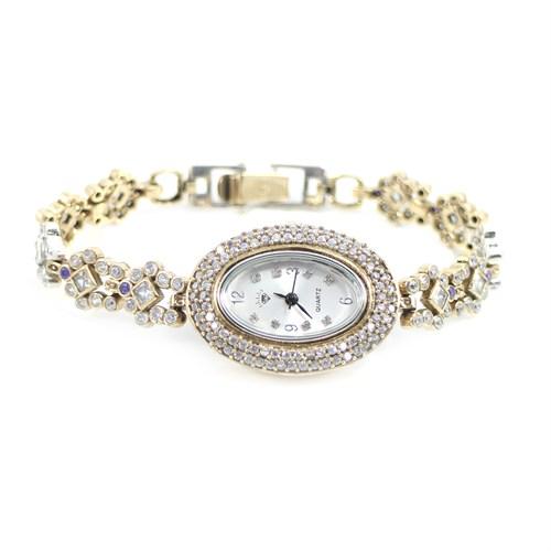 Dhamany Beyaz Taşlı Oval Bayan Gümüş Saat