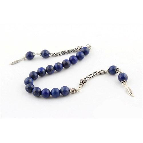 Tesbihevim Lapis Lazuli Taşı Zaza Tesbih 925 Ayar Gümüş Püsküllü