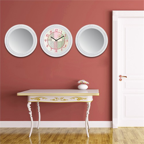Cadran Home 2'Li Ayna Ve Duvar Saati Set Chas16