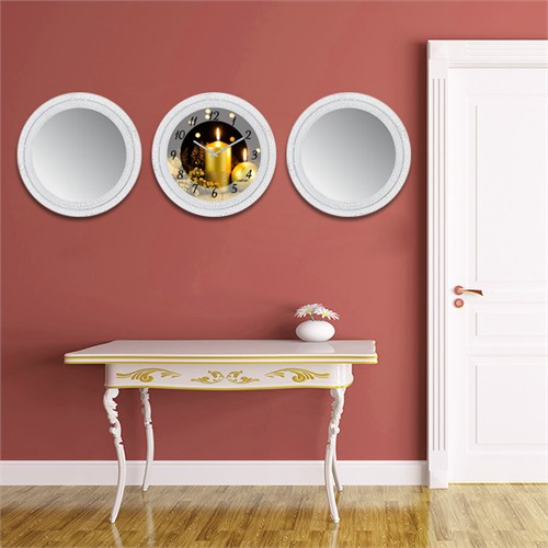 Cadran Home 2'Li Ayna Ve Duvar Saati Set Chas17