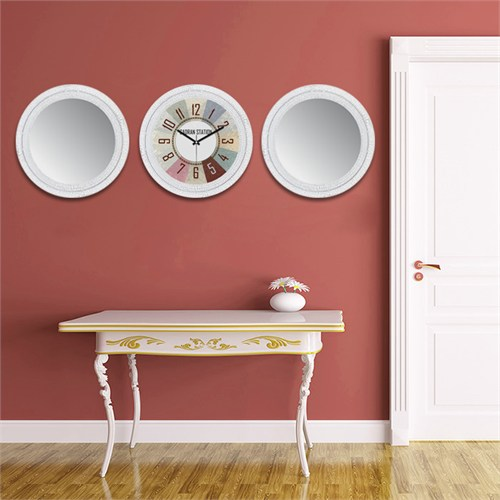 Cadran Home 2'Li Ayna Ve Duvar Saati Set Chas35
