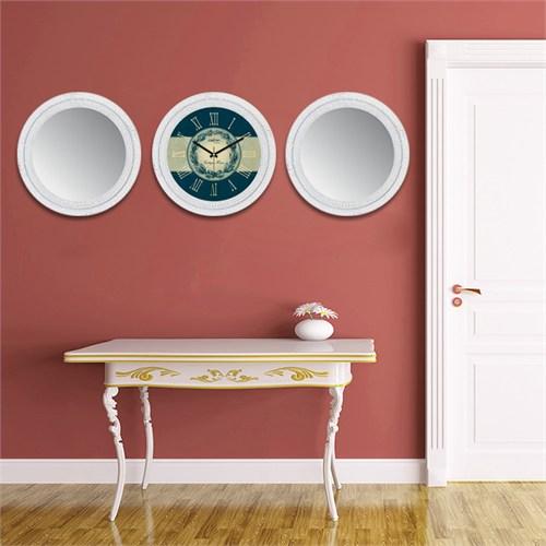 Cadran Home 2'Li Ayna Ve Duvar Saati Set Chas44