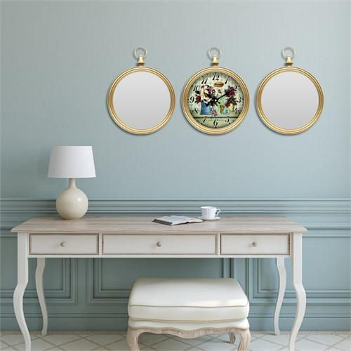 Cadran Home 2'Li Ayna Ve Duvar Saati Set Chas52