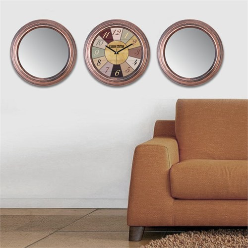 Cadran Home 2'Li Ayna Ve Duvar Saati Set Chas6