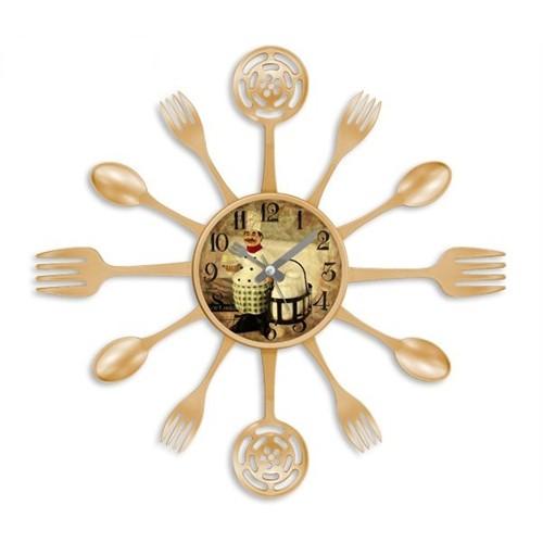 Clocktime By Cadran 40X40 Çatal Kaşık Mutfak Saati Ct118