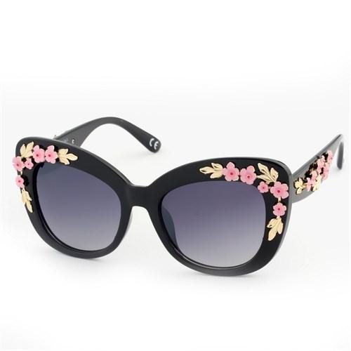 Almera Yeni Sezon Trend Moda Siyah Pembe Çiçekli Güneş Gözlüğü 36899
