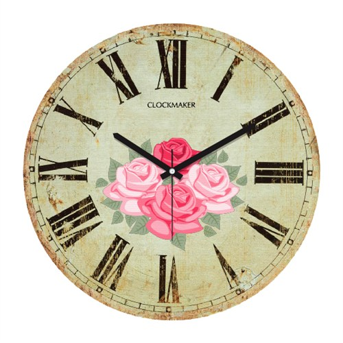 Clockmaker By Cadran Retro Vintage 30X30 Mdf Duvar Saati Cmm136