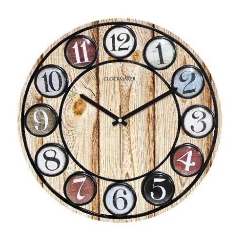 Clockmaker By Cadran Retro Vintage 30X30 Mdf Duvar Saati Cmm170