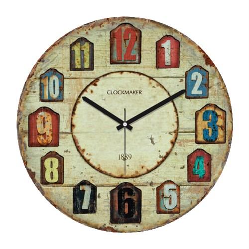 Clockmaker By Cadran Retro Vintage 30X30 Mdf Duvar Saati Cmm19