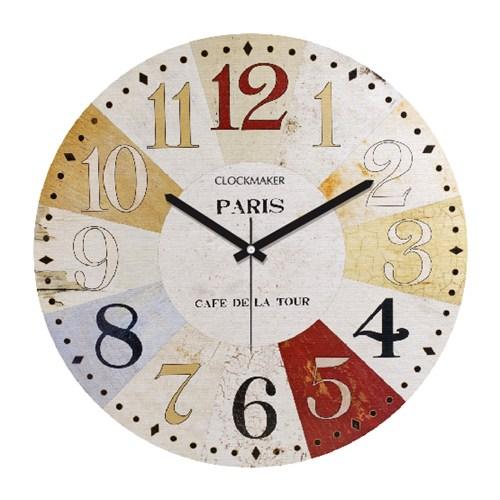 Clockmaker By Cadran Retro Vintage 30X30 Mdf Duvar Saati Cmm23