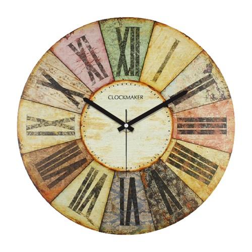 Clockmaker By Cadran Retro Vintage 30X30 Mdf Duvar Saati Cmm78