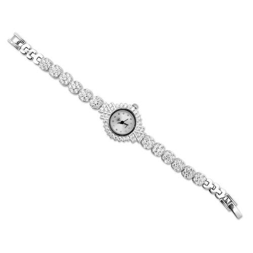 Tesbihane Zirkon Taşlı Gümüş Kadın Kol Saati