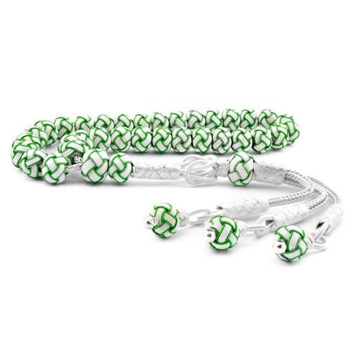 Tesbihane Yeşil Beyaz Kazaz El Örmesi Bilek Boy Gümüş Tesbih