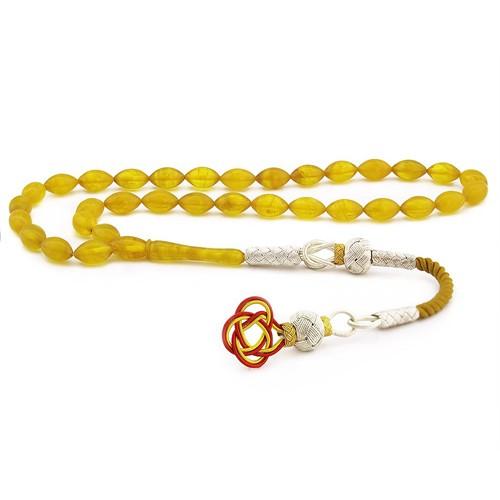 Tesbihane 1000 Ayar Gümüş Kazaz Püsküllü Sarı Sıkma Kehribar Tesbih