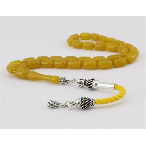 Tesbihane Gümüş Püsküllü Sarı Sıkma Kehribar Tesbih (Özel İşçilik)