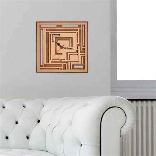 Penguen Geometrik Ahşap Duvar Saati