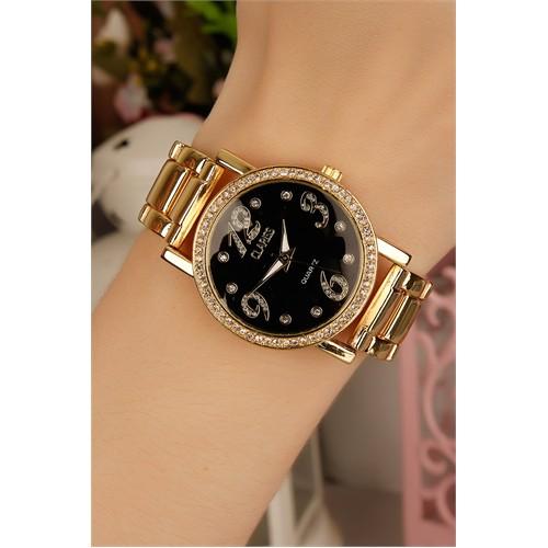 Morvizyon Clariss Marka Siyah İç Tasarımlı Sarı Kaplama Bayan Saat