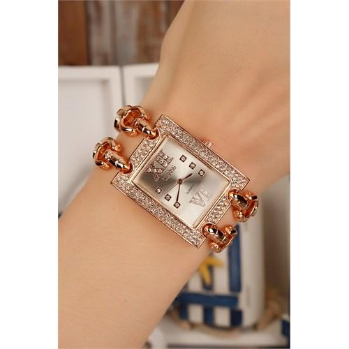 Morvizyon Clariss Marka Rose Metal Kordon Tasarımlı Kristal Taş Kasalı Bayan Saat Modeli