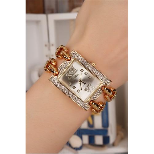Morvizyon Clariss Marka Sarı Kaplama Metal Kordon Tasarımlı Kristal Taş Kasa Bayan Saat