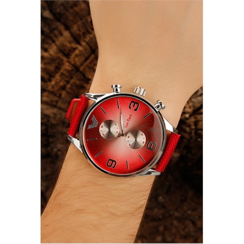 Morvizyon Kırmızı Kendinden Desenli Deri Kordonlu Metal Kasa Erkek Saat