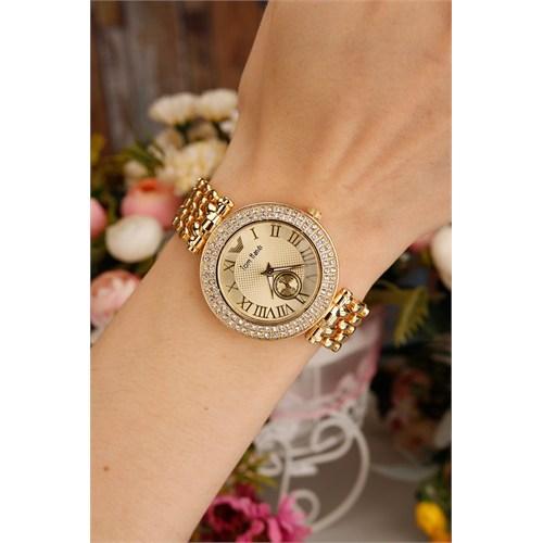 Morvizyon Sarı Kaplama Zirkon Taşlı Kasa Tasarımlı Bayan Saat
