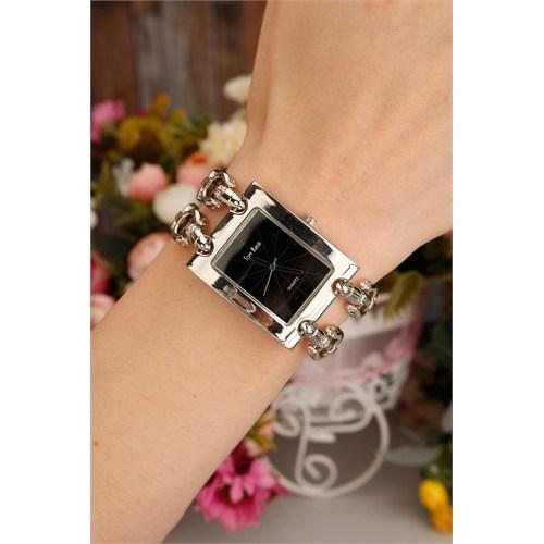 Morvizyon Gümüş Kaplama Metal Kordonlu Kare Kasa İç Detayı Siyah Bayan Saat Modeli