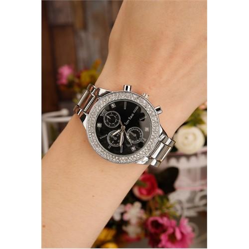 Morvizyon Gümüş Kaplama Siyah İç Tasarımlı Bayan Saat