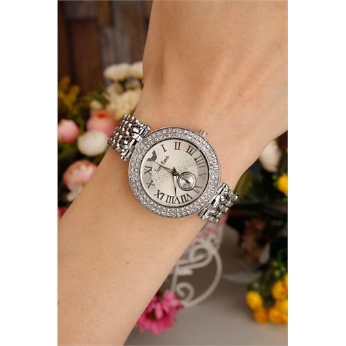 Morvizyon Gümüş Kaplama Metal Kordon Tasarımlı Kristal Taş Kasa Detaylı Bayan Saat Modeli