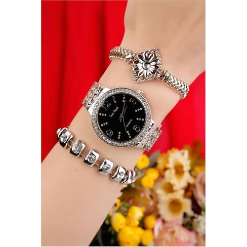 Morvizyon Gümüş Kaplama Metal Kordonlu İç Tasarımı Siyah Bayan Saat Ve Bileklik Kombini