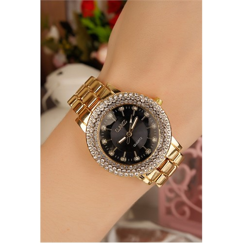 Morvizyon Clariss Marka Sarı Kaplama Siyah İç Tasarımlı Parlak Taşlı Kasa Bayan Saat