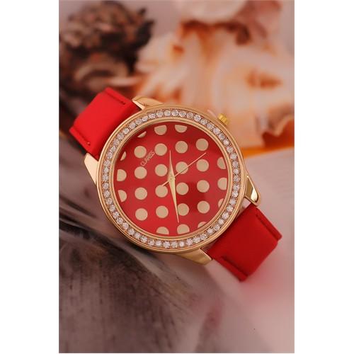 Morvizyon Clariss Marka Sarı Kaplama Parlak Taşlı Kasa Kırmızı Bordo Deri Kordonlu Bayan Saat