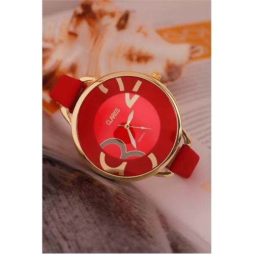 Morvizyon Clariss Marka Kırmızı Deri Kordon Tasarımlı Sarı Kaplama Metal Kasa Bayan Saat
