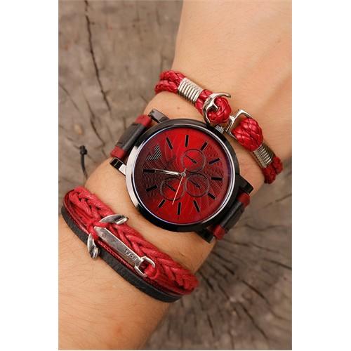 Morvizyon Kırmızı & Siyah Kordon Tasarımlı Siyah Metal Kasa Erkek Saat Ve Bileklik Kombini